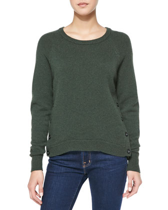 Elbow-Patch Button-Side Cashmere Sweater
