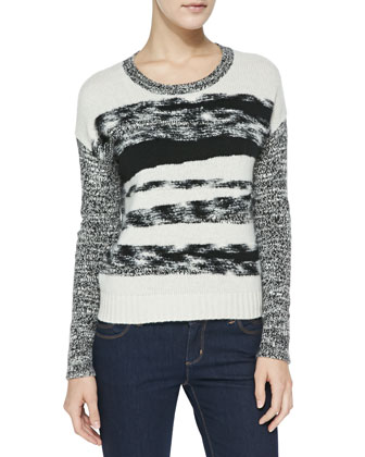 Mixed-Yarn Cashmere Knit Sweater