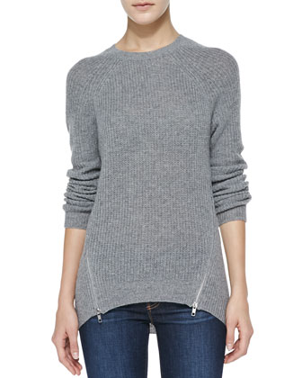 Long Shaker-Stitch Zipper-Hem Cashmere Sweater