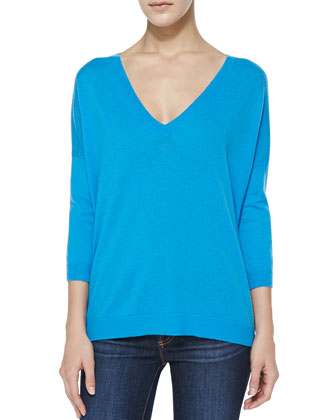Back-Zip V-Neck Cashmere Sweater