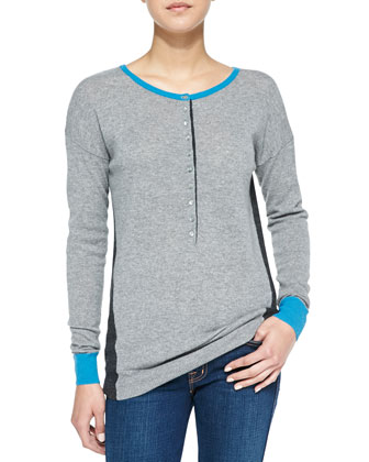 Colorblock Ribbed Cashmere Henley