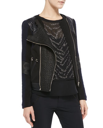 Two-Tone Combo Moto Jacket