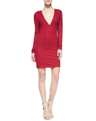 Fiona Deep-V Long-Sleeve Sweaterdress