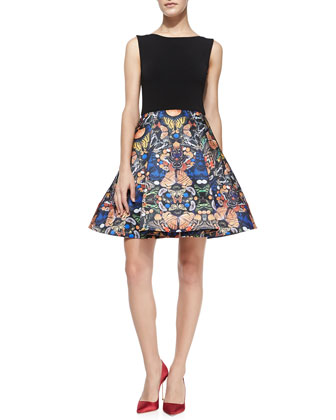 Amabel Solid/Printed Combo Dress