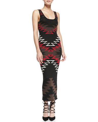Tribal-Print Knit Maxi Dress