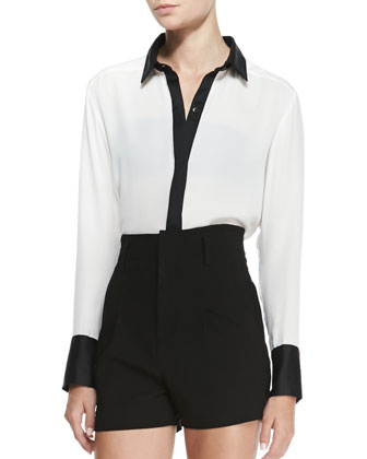 Rita Contrast-Trim French-Cuff Blouse