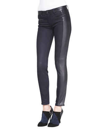 Harlow Leather-Side Slim Jeans