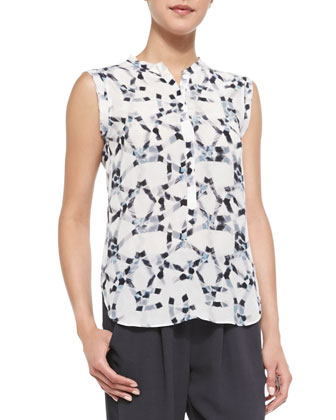 Geo-Print Silk Sleeveless Henley