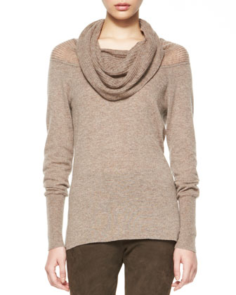 Cashmere Aurora Draped-Neck Sweater