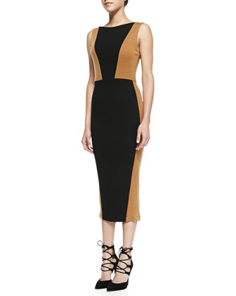 Blaze Colorblock Knit Midi Sheath Dress