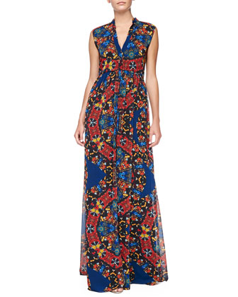 Marianna Printed Button-Front Maxi Dress