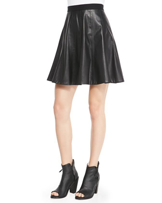 Faux-Leather Flounce Skirt
