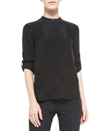 Textured Silk Colorblock Top
