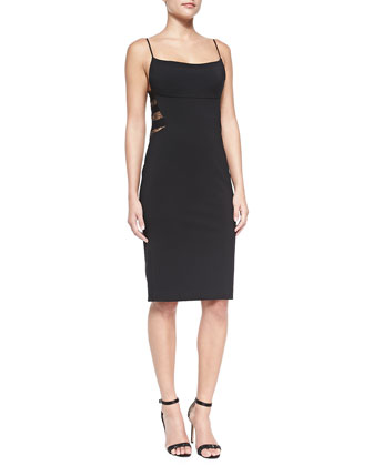 Lita Spaghetti-Strap Sheath Dress with Back Lace Insets