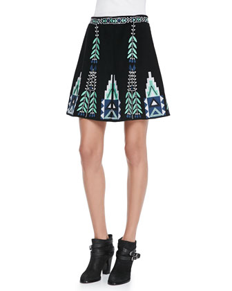 Teresa Embroidered A-Line Skirt