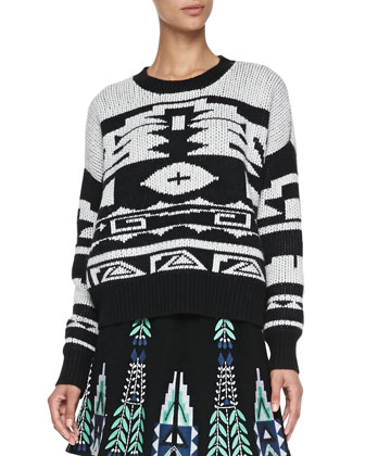 Chiara Tribal-Pattern Knit Sweater