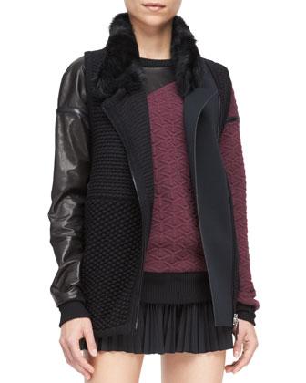 Shearling-Collar Knit Vest