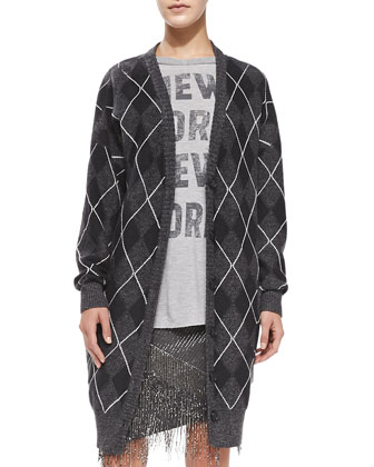 Argyle Wool Long-Sleeve Sweater