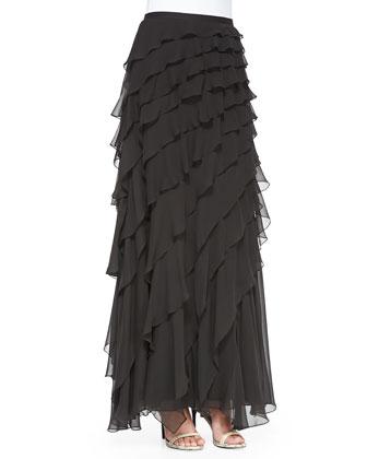 Chiffon Skirt w/Diagonal Ruffles