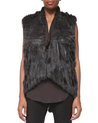 Detachable-Sleeve Rabbit Fur Jacket
