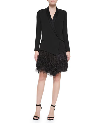 Feather-Bottom Crepe Tux Blazer Dress