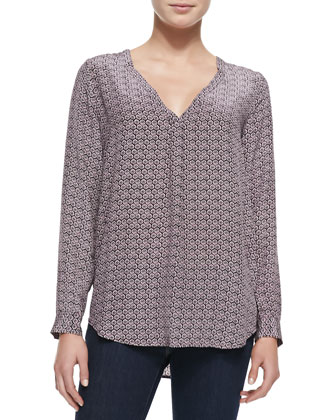 Daryn Printed Long-Sleeve Blouse