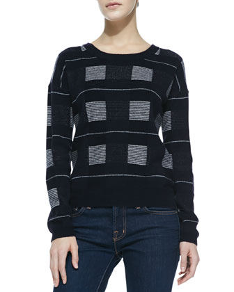 Lette Magnified Plaid Knit Sweater