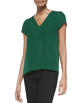 Arna Silk Short-Sleeve Top, Hunter