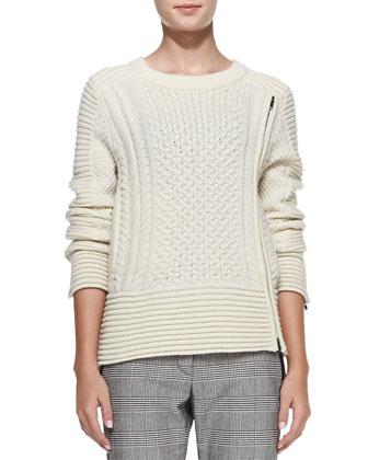 Fisherman Knit Zip-Detail Sweater