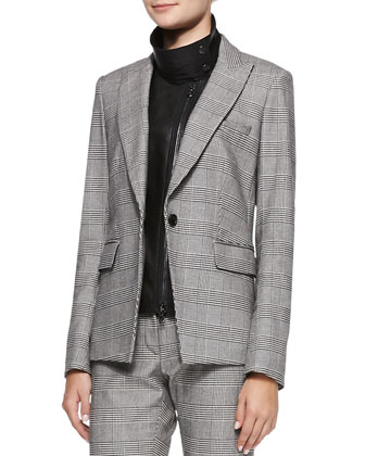 Check Suit Jacket with Leather Dickey