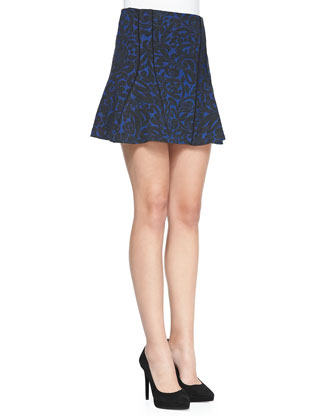 Scroll-Print Flounce Skirt