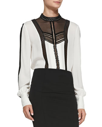 Long-Sleeve Lace-Inset Blouse