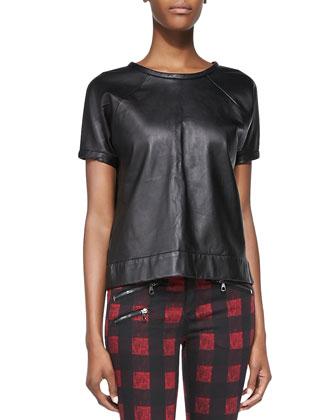 Lambskin Leather Sweatshirt, Black