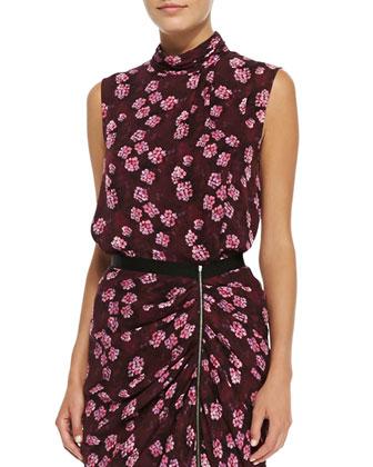 Draped Cherry-Blossom-Print Top