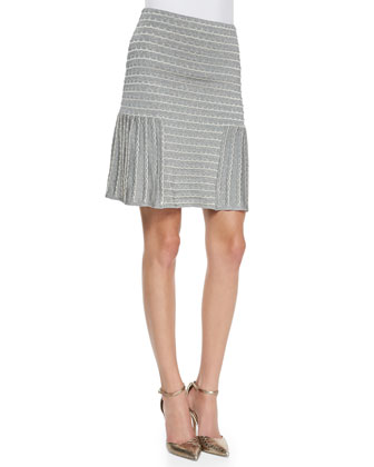 Metallic Knit Pleated Skirt