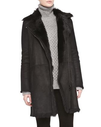Asymmetric Shearling Fur Coat