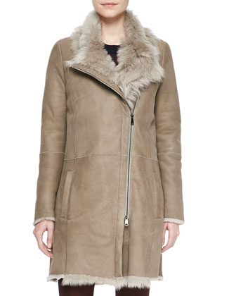 Asymmetric Shearling Fur Coat, Latte