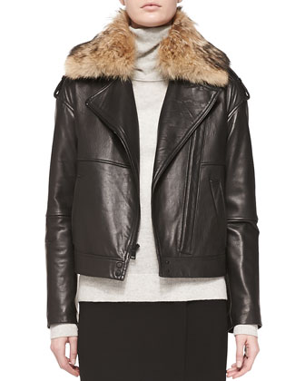 Fur-Collar Leather Jacket
