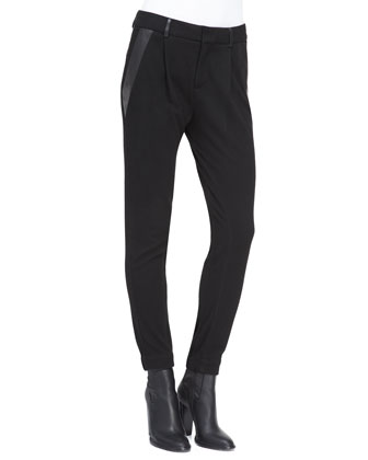 Leather-Trim Relaxed Trousers
