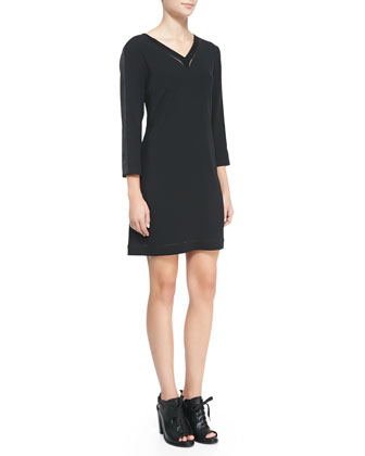 Lydia Leather-Trim Jersey Dress