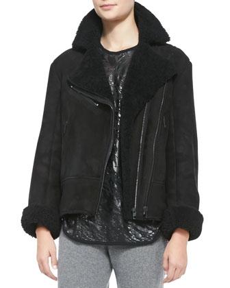 Shearling Fur Asymmetric Zip Jacket