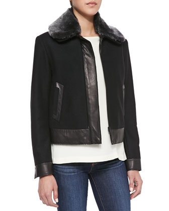 Boxer Fur-Collar Leather-Trim Jacket