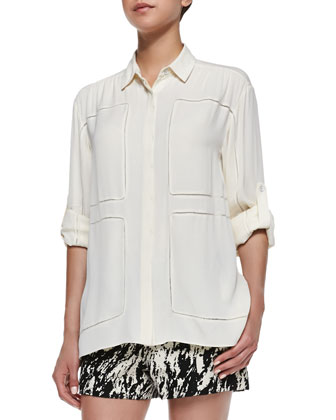 Sally Long-Sleeve Silk Shirt