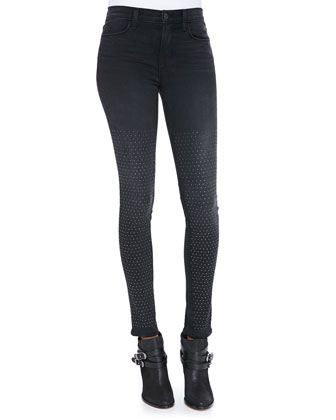 231 Maria Graphite High-Rise Studded Skinny Jeans