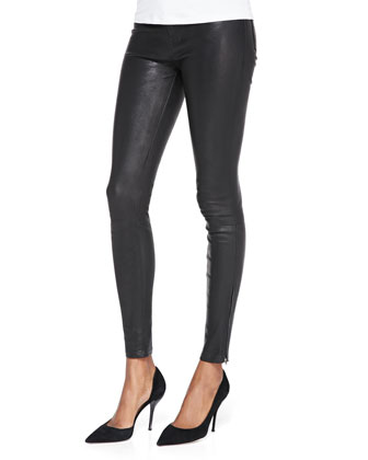 Maria High-Rise Lamb Leather Leggings, Noir