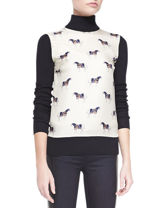 Etty Horse-Print Silk & Wool Sweater
