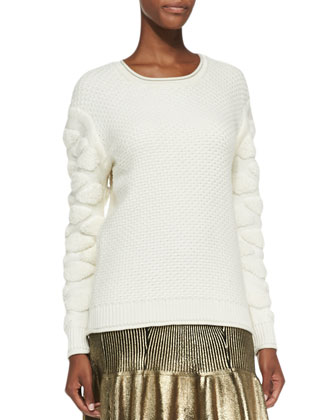 Tufted-Pattern Knit Pullover Sweater, Creme