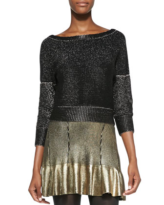 Shimmery Metallic Knit Boat-Neck Sweater