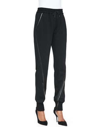 Leather-Trim Pull-On Track Pants
