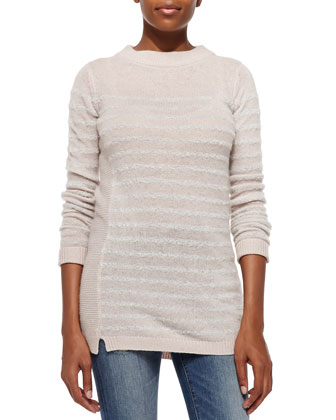 Long Striped Cashmere Pullover